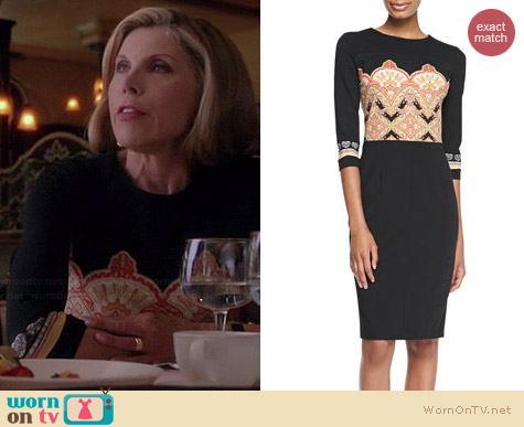 Etro Paisley Bodice Dress worn by Christine Baranski on The Good Wife