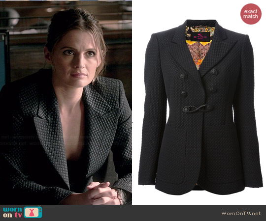 Etro Patterned Double Breasted Blazer worn by Stana Katic on Castle