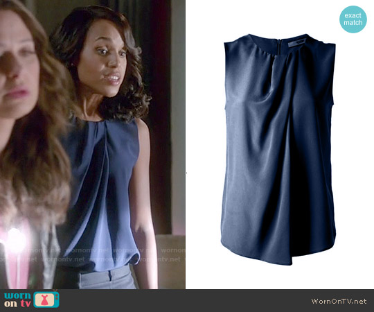 Etro Pleated Silk Blouse worn by Kerry Washington on Scandal