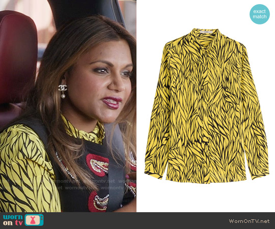 Etro Printed Silk Shirt worn by Mindy Kaling on The Mindy Project