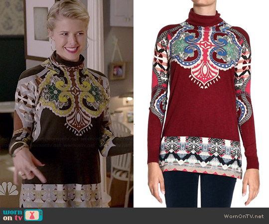 Etro Printed Turtleneck Sweater worn by Sarah Wright Olsen on Marry Me