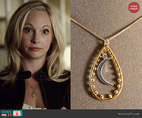 Etsy AmyFineDesign Moon & Stars Necklace worn by Caroline Forbes on The Vampire Diaries