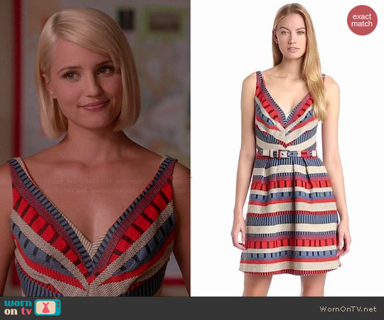 Eva Franco Grace Dada Stripe Dress worn by Dianna Agron on Glee