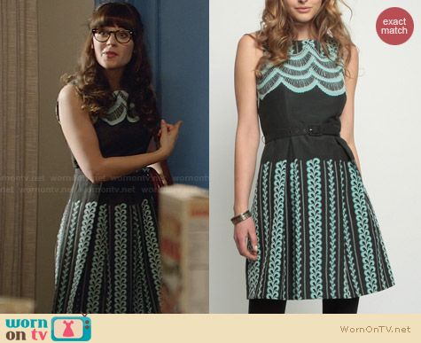 Eva Franco Orla Teal Veranda Dress worn by Zooey Deschanel on New Girl