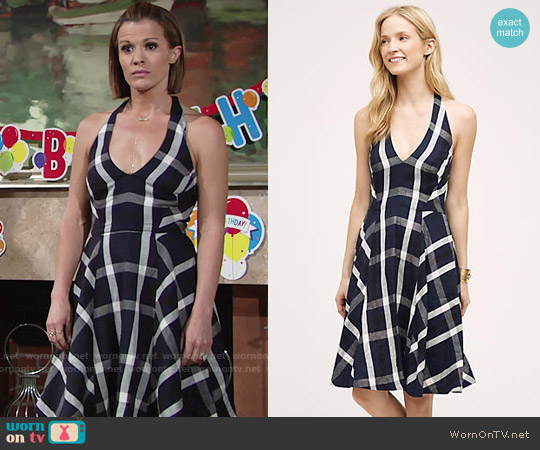 Eva Franco Plaid Halter Dress worn by Melissa Claire Egan on The Young & the Restless
