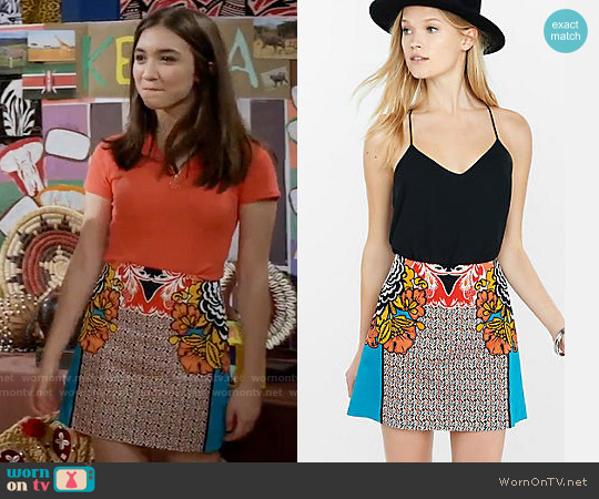 Express Floral Print High Waisted A-Line Skirt worn by Rowan Blanchard on Girl Meets World