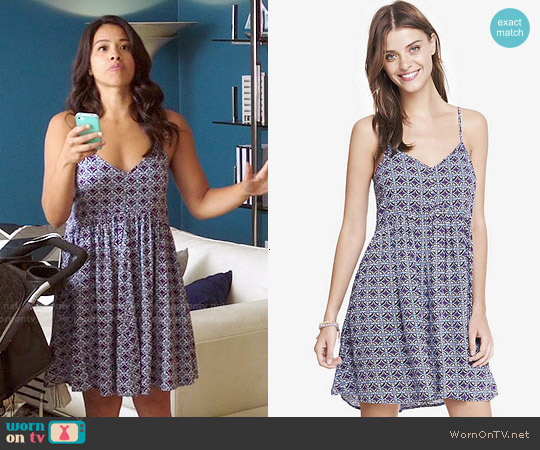 Express Printed Strappy Trapeze Babydoll Dress worn by Gina Rodriguez on Jane the Virgin