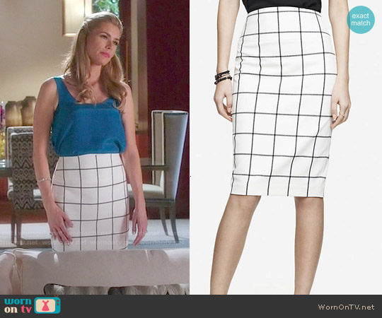 Express Windowpane High Waist Midi Pencil Skirt worn by Brianna Brown on Devious Maids