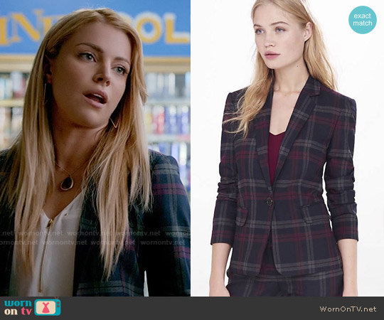 Express Berry Plaid Jacket worn by Mary Louise (Teressa Liane) on The Vampire Diaries