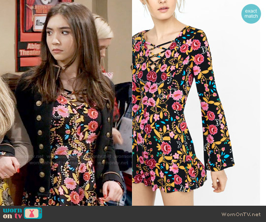 Express Bold Floral Print Lace-Up Neckline Romper worn by Rowan Blanchard on Girl Meets World