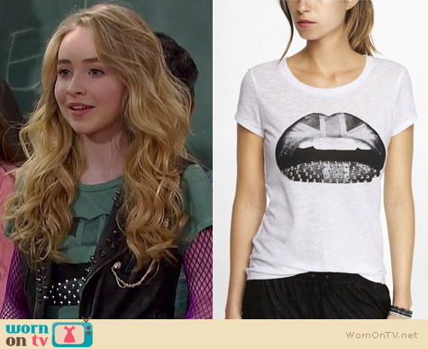 Express Studded Brit Lips Tee worn by Sabrina Carpenter on Girl Meets World