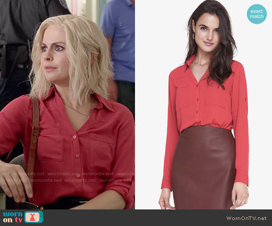 Express The Convertible Sleeve Portofino Shirt in Bright Salmon worn by Rose McIver on iZombie