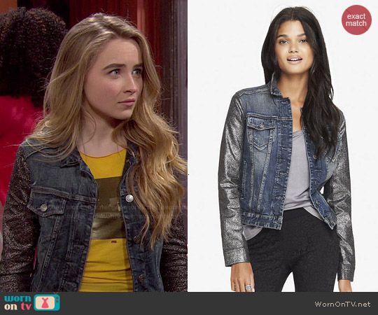 Express Crackled Metallic Sleeve Denim Jacket worn by Sabrina Carpenter on Girl Meets World