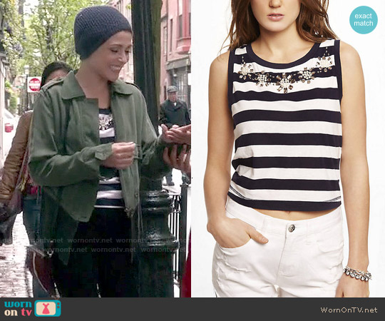 Express Cropped Striped Bead Embellished Tank worn by Italia Ricci on Chasing Life