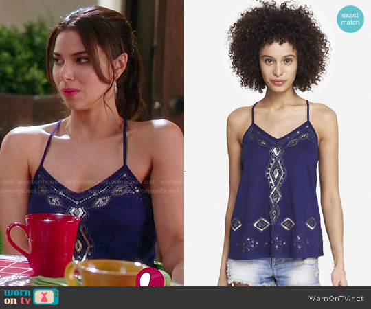 Express Embellished Racerback Trapeze Cami worn by Roselyn Sanchez on Devious Maids