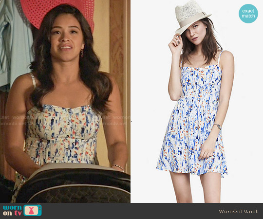 Express Floral Print Cami Sundress worn by Gina Rodriguez on Jane the Virgin