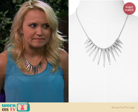 Express Graduated Spike Necklace worn by Emily Osment on Young & Hungry