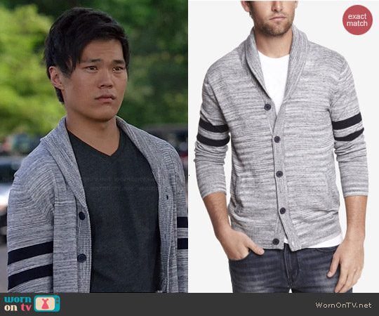 Express Heathered Stripe Shawl Collar Cardigan worn by John Kim on The Librarians