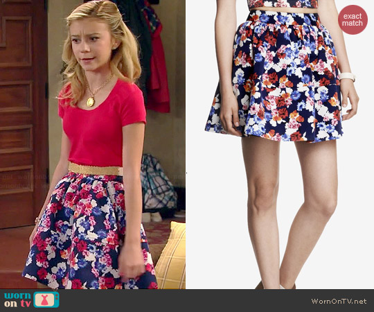 Express High Waist Full Floral Skirt worn by G. Hannelius on Dog with a Blog
