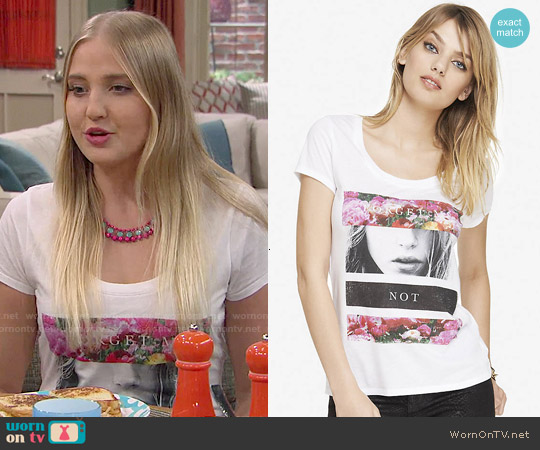 Express Lace Back Graphic Tee in Forget Me Not worn by Veronica Dunne on KC Undercover