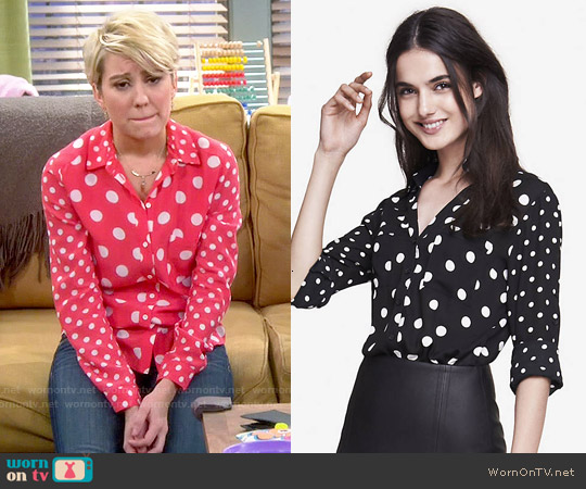 Express Mixed Polka Dot Convertible Sleeve Portofino Shirt worn by Chelsea Kane on Baby Daddy