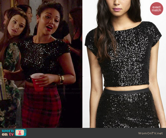 Express Sequin Crop Top worn by Aisha Dee on Chasing Life