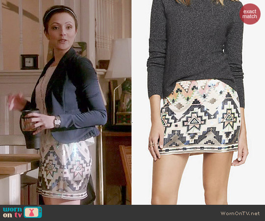 Express Sequin Embellished Mini Skirt worn by Italia Ricci on Chasing Life