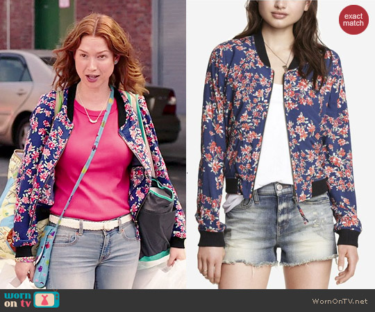 Express Soft Floral Bomber Jacket worn by Ellie Kemper on Unbreakable Kimmy Schmidth