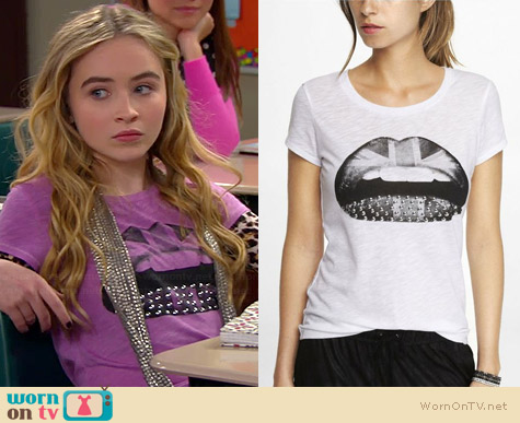 Express Studded Brit Lips Graphic Tee worn by Sabrina Carpenter on Girl Meets World