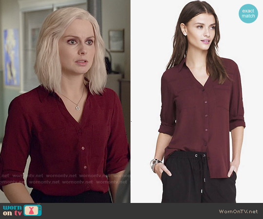 Express The Convertible Sleeve Portofino Shirt worn by Rose McIver on iZombie
