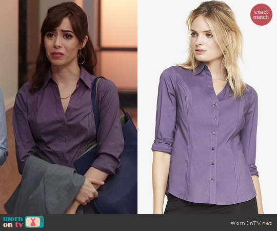 Express The Original Long Sleeve Shirt in Purple Haze worn by Cristin Milioti on A to Z