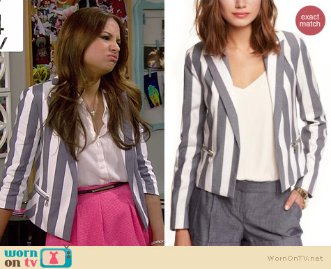 Express Vertical Striped Peak Lapel Jacket worn by Aimee Carrero on Young & Hungry