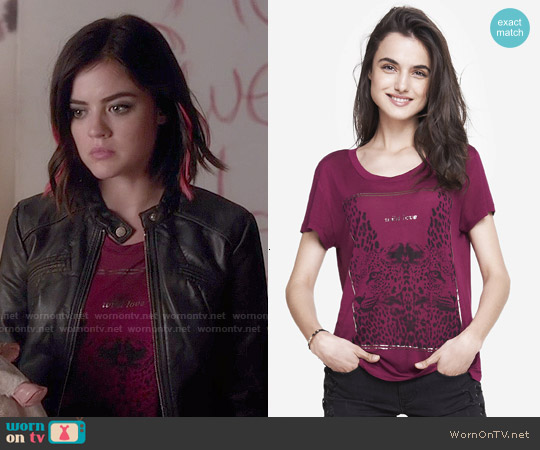 Express Wild Love Graphic Tee worn by Lucy Hale on PLL
