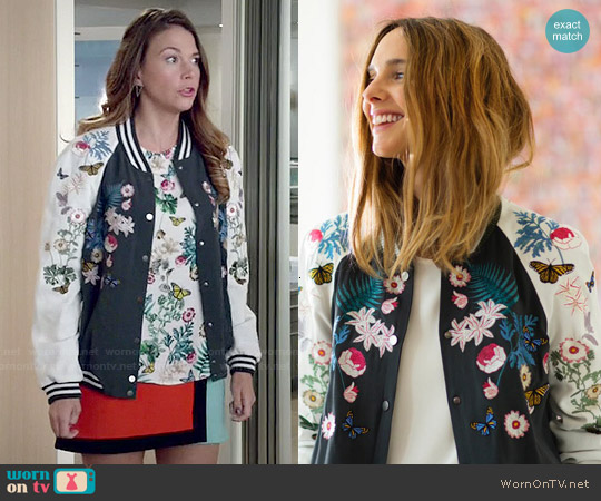 Façonnable Floral Embroidered Bomber Jacket worn by Liza Miller on Younger