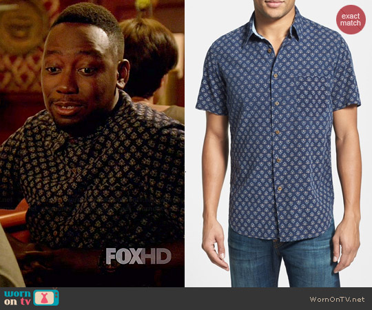 Faherty Indigo Sport Shirt worn by Lamorne Morris on New Girl