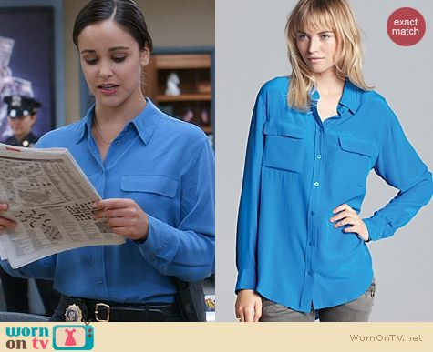 Fashion of Brooklyn 99: Equipment Signature Shirt in Klein Blue worn by Melissa Fumero