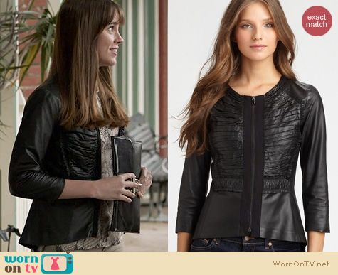 Fashion of Revenge: Elie Tahari Leather Pencey Jacket wor nby Christa Allen