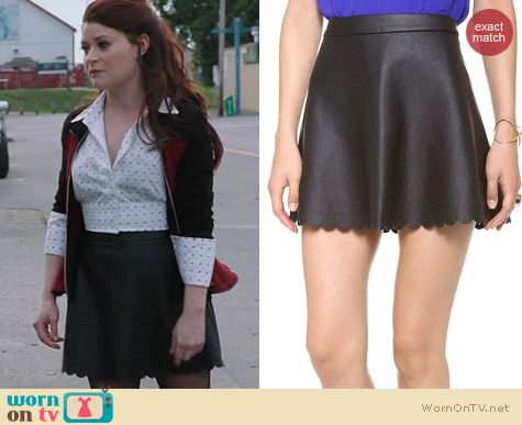 Fashion of OUAT: Club Monaco Cadance Leather Skirt worn by Emilie de Ravin
