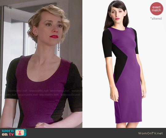 Felicity & Coco Contrast Panel Sheath Dress worn by Karine Vanasse on Revenge