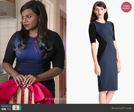 Felicity & Coco Contrast Panel Sheath Dress worn by Mindy Kaling on The Mindy Project