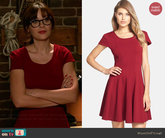 Felicity & Coco Double Knit Fit & Flare Dress worn by Zooey Deschanel on New Girl