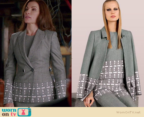 Fendi Fall 2014 Collection Geometric Print Blazer worn by Julianna Margulies on The Good Wife