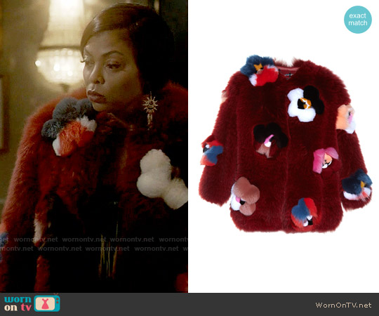 Fendi Flowerland Applique Fur Coat worn by Taraji P. Henson on Empire
