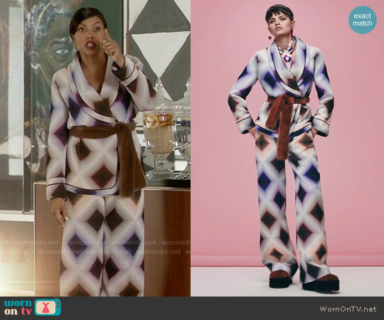 Fendi Pre-Fall 2016 Collection Patterned Jacket and Pants worn by Taraji P. Henson on Empire