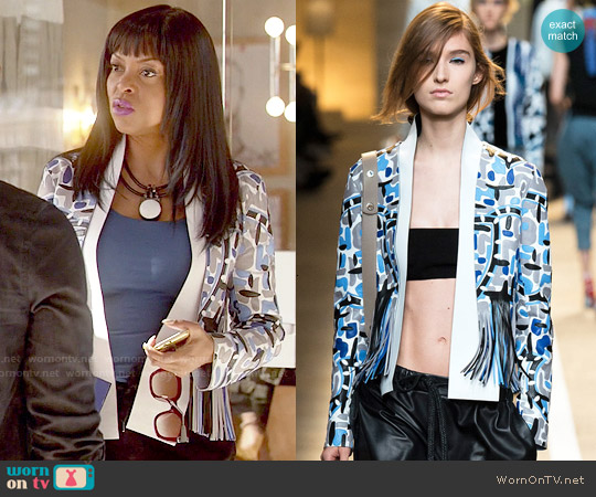 Fendi Spring 2015 Collection Fringed Jacket worn by Taraji P. Henson on Empire