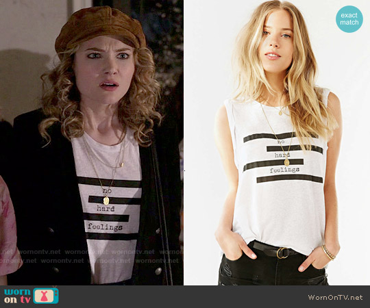 Truly Madly Deeply Spliced Verbiage Twist-Cuff Muscle Tee worn by Skyler Samuels on Scream Queens