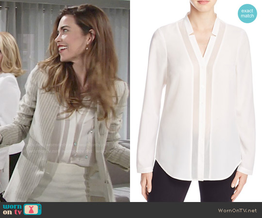 Finity Sheer Inset Button Down Shirt worn by Victoria Newman on The Young & the Restless