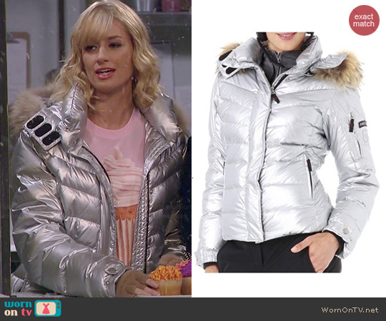 Bogner Fire & Ice Silver DP Down Jacket worn by Caroline Channing on 2 Broke Girls