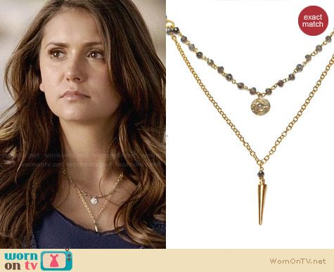 Fizz Candy Labrodite Stacking Necklace worn by Nina Dobrev on The Vampire Diaries