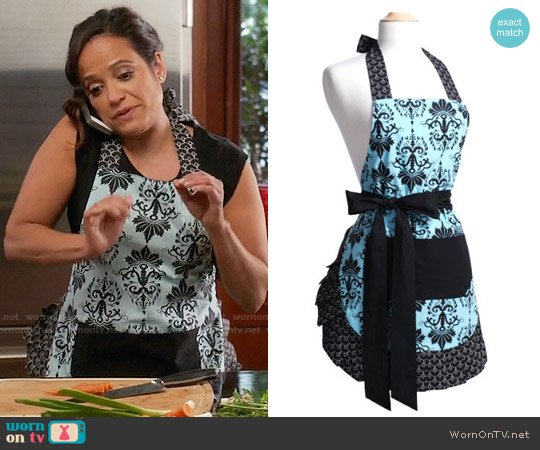 Flirty Aprons Original Apron in Aqua Damask worn by Judy Reyes on Devious Maids
